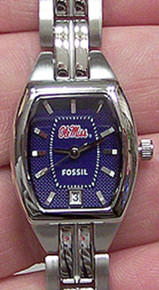 Mississippi Ole Miss Fossil Watch Womens Three Hand Date