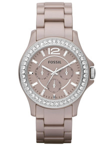Fossil Womens Ceramic Watch Antique Pearl Multifunction Riley CE1063