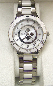 Pittsburgh Steelers Mother of Pearl Watch Game Time Womens NFL-PEA-PIT