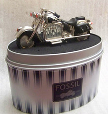 Fossil Motorcycle Desk Clock. Novelty Collectible with Bags & Flames
