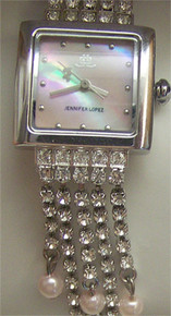 Jennifer Lopez Jlo Mother of Pearl Crystal strands watch Fossil made