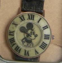Mickey Mouse Fossil Watch Vintage black and white Mens Preowned