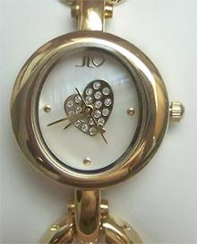 Jennifer Lopez Jlo Gold tone MOP Open Link Heart Watch