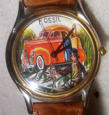 Fossil Hand Painted Watch Fisherman Limited Edition Vintage LE-9402