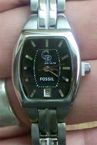 Colorado Rockies Fossil Ladies Cushion Three Hand Date Watch