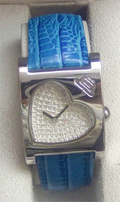 JLo Watch Fossil made Ladies Crystals Heart shaped Blue Bracelet Watch