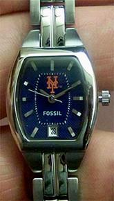 New York Mets Fossil Watch Womens Three Hand Date Wristwatch