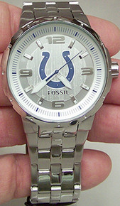 Indianapolis Colts Fossil Watch. Mens Three Hand Large Logo NFL1217