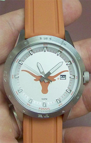 Texas Longhorns Fossil Watch Mens Three Hand Date Silicone