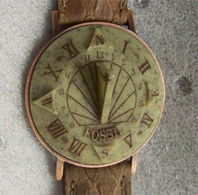 Fossil Sundial Watch Vintage Collectible Wristwatch SD7620 Camel Band