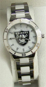 Oakland Raiders Pearl Watch Game Time MOP Ladies Wristwatch
