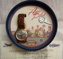 Fossil Airplane Watch Vintage Aero Pilot Collectors Wristwatch Brown