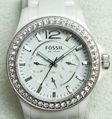 Fossil Ceramic Watch Womens White Multifunction CE1010