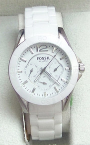 Fossil Ceramic Watch White Multifunction Silver Ladies womens CE1002