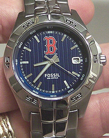 Boston Red Sox Fossil Watch Mens Three Hand Date Wristwatch MLB1000