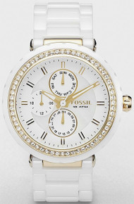 Fossil Ceramic Multifunction Watch Womens White Gold Tone CE1012