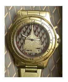 Star Trek Klingon Fossil Watch Gold Set LI-1425 in Matching tin case