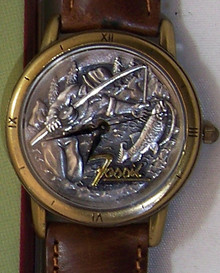 Fossil Fisherman Watch Vintage Fishing  theme mens wristwatch LE-9456