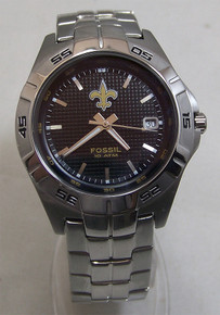 New Orleans Saints Fossil Watch Mens Three Hand Date Wristwatch