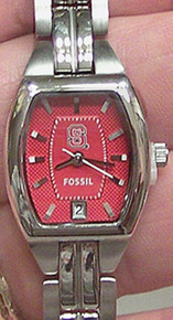 NC  N.C. State Wolfpack Fossil Watch Womens Three Hand Date