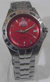 Ohio State Buckeyes Fossil Watch Mens Three Hand Date Wristwatch