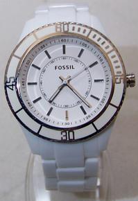 Fossil White Enamel Top Ring Womens Fashion Watch: Stella ES2442