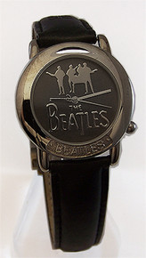 The Beatles Watch Silver on Grey Logo in Wooden Guitar Display Case