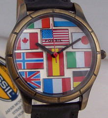 Fossil International Flags Watch Vintage Special Edition Collectible