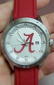 Alabama Crimson Tide Fossil Three Hand Date Silicone Watch Li3083