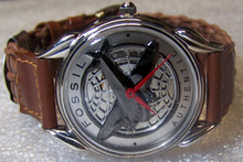 Fossil Airplane Watch Vintage LE Collectors Red hands Brown Woven band
