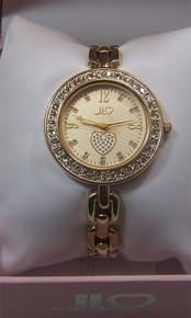 Jennifer Lopez Watch, Womens Glitzy Round Gold Tone with Heart J2/1024