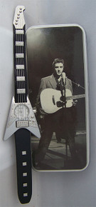 Elvis Presley Guitar Shaped Watch Novelty Silver Wristwatch in Elvis Tin