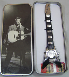 Elvis Presley Guitar Shaped Watch Novelty Black Guitar Wristwatch