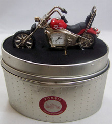 Fossil Motorcycle Desk Clock Novelty LE Collectible Red Chopper Style