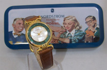 Fossil Nordstrom Watch Ladies Cracked MOP with Stones Domed Wristwatch
