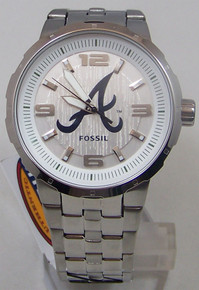 Atlanta Braves Fossil Watch Mens Silver 3 Hand Large Logo wristwatch