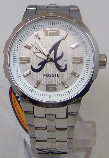 atlanta braves fossil mens silver 3 large logo