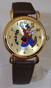 Goofy Backwards Pedre Disney Watch 1989 Gold Lmt. Ed. Wristwatch