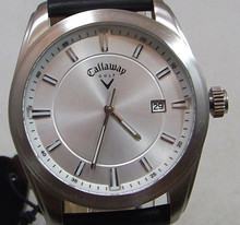 Callaway Watch Mens CY2075 Three Hand Date on Black Leather Band