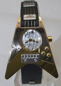 Gibson Guitar Watch Gibson 67 Flying V Gold Wristwatch In Guitar Case