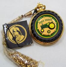 John Deere Pocket Watch Tractor Model B Franklin Mint Lmt Ed. on Stand