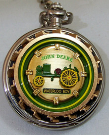 John Deere Franklin Mint Pocket Watch Waterloo Boy Tractor Timepiece