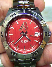 Arizona Diamondbacks Fossil Watch Mens Three Hand Date MLB Wristwatch