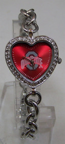 Ohio State Buckeyes Heart Watch Game Time Ladies Heart Wristwatch