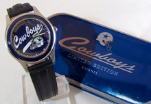 Dallas Cowboys Watch Fossil Mens Vintage 1994 Wristwatch Set with Pin