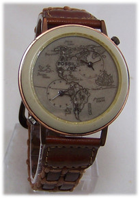 Fossil Dual Time Map Watch North and South America Vintage wristwatch