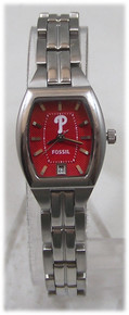 Philadelphia Phillies Fossil Watch Womens 3 Hand Date Wristwatch MLB