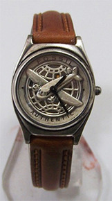 Fossil Airplane Watch Womens Vintage Pilot's Pewter Wristwatch Ladies