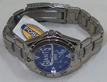 New York Giants Fossil Watch Mens Vintage 98 Stainless Band Wristwatch