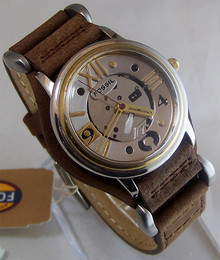 Fossil Vintage Watch Mens Metallic Steampunk Style Wristwatch JR-7561